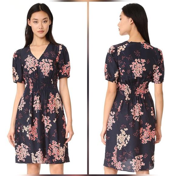 6a403e735c3e Rebecca Taylor Phlox Silk Floral Print Navy Dress